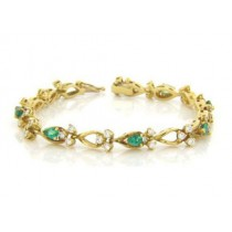 BR945 Diamond and Emerald Bracelet