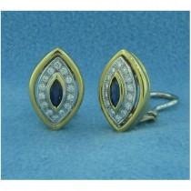 E1171 Diamond and Sapphire Button Earrings