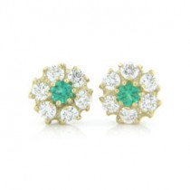 E1224 Diamond and Emerald Earrings
