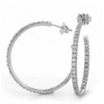 E1225 Diamond Hoop Earrings