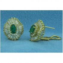 E1240 Diamond and Emerald Earrings