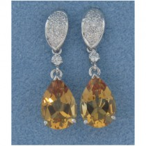 E1261 Diamond and Citrine Drop Earrings