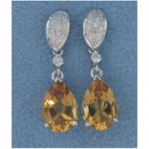 E1261 Diamond and Citrine Drop Earrings