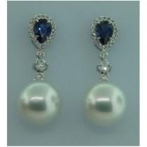 E1266 Diamond, Sapphire and Pearl Earrings