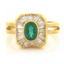 FS3329 Diamond and Emerald Ring