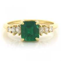 FS3337 Diamond and Emerald Ring