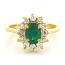 FS3585 Diamond and Emerald Ring