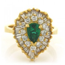 FS3590 Diamond and Emerald Ring