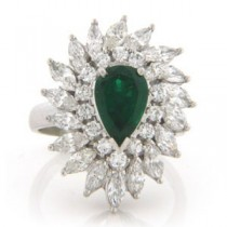 FS3746 Diamond and Emerald Ring