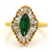 FS3760 Diamond and Emerald Ring