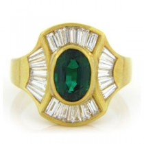 FS3781 Diamond and Emerald Ring