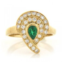 FS3783 Diamond and Emerald Ring