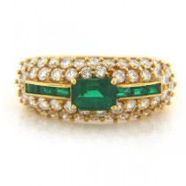 FS3785 Diamond and Emerald Ring