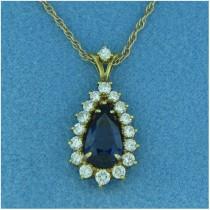 P1364 Diamond and Sapphire Pendant