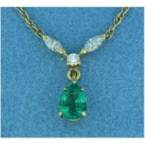 P1401 Diamond and Emerald Pendant