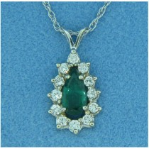 P1405 Diamond and Emerald Pendant