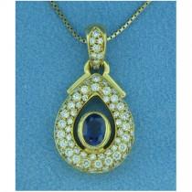 P1408 Diamond and Sapphire Pendant