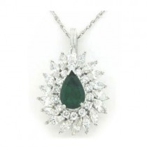 P3746 Diamond and Emerald Pendant