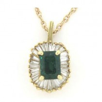 P3774 Diamond and Emerald Pendant