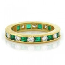 WB2581 Diamond and Emerald Wedding Ring