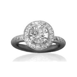 AFS-0072 Vintage Diamond Engagement Ring with Halo