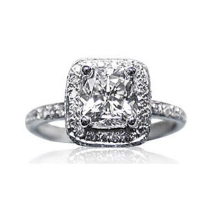 AFS-0074 Vintage Diamond Engagement Ring with Halo