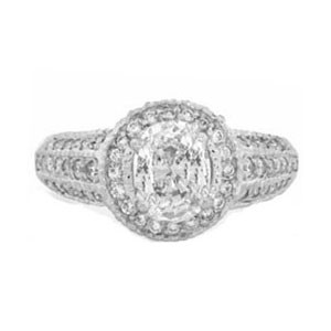 AFS-0077 Vintage Diamond Engagement Ring with Halo
