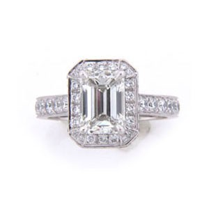AFS-0120 Vintage Diamond Engagement Ring with Halo