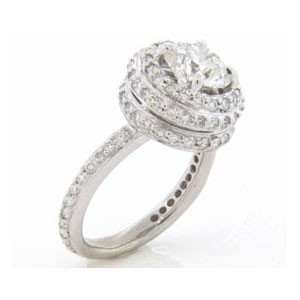 AFS-0137 Vintage Diamond Engagement Ring with Halo
