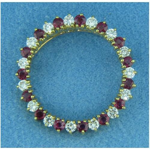 B1647 Diamond and Ruby Pin