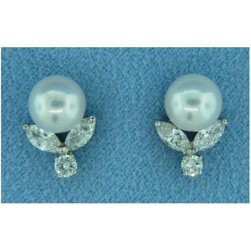 E1234 Diamond and Pearl Earrings