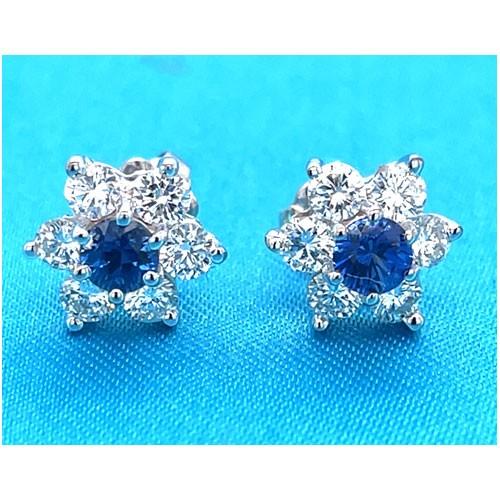 E1242 Diamond and Sapphire Earrings