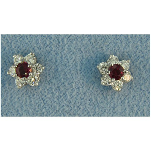 E1243 Diamond and Ruby Earrings