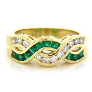 WB2574 Diamond and Emerald Wedding Ring