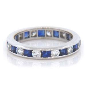 WB2590 Diamond and Emerald Wedding Ring