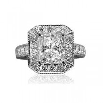 AFS-0064 Vintage Diamond Engagement Ring with Halo