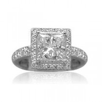 AFS-0067 Vintage Diamond Engagement Ring with Halo